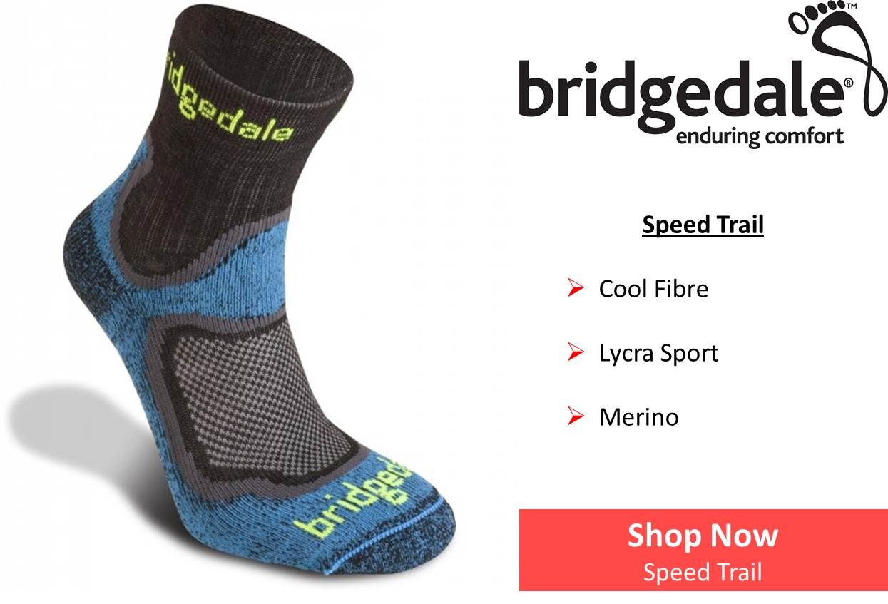 Equipement trail boutique running sports outdoor shop -  Bridgedale Mens Speed Trail Technical Sock Outdoor Adventure Ni